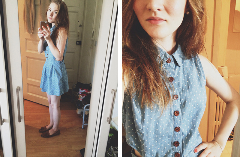polka dot denim dress fashion