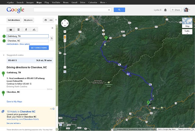 Gatlinburg, TN to Cherokee, NC map