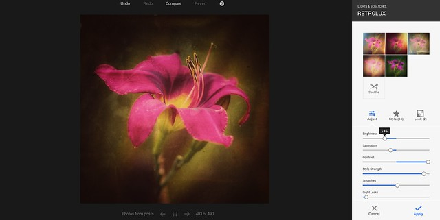 Google+ New Retrolux Editing