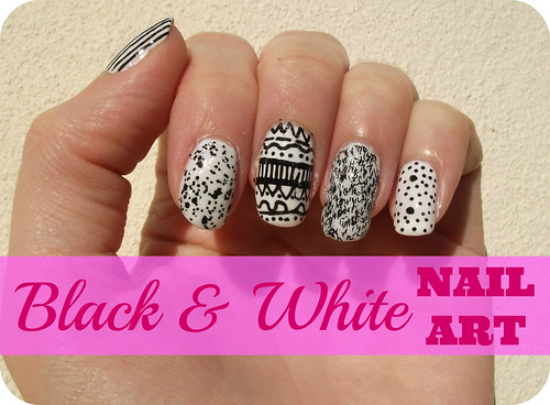 NOTD Nail Art Black & White