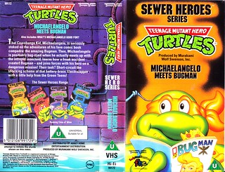 "TEMPO VIDEO ::  ""TEENAGE MUTANT HERO TURTLES"" 'SEWER HEROES' SERIES - ""MICHAELANGELO MEETS BUGMAN"" ..U.K. VHS sleeve (( 1994 ))  [[ Courtesy of HERO ]]"