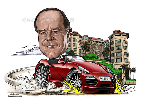 digital caricature on Porsche for Swisshotel (watermarked)