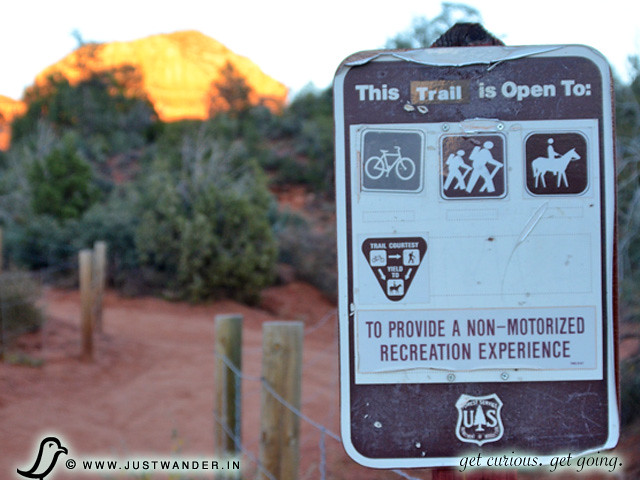 PIC: Trail Sign - open for hikers, bikers and horseback riding
