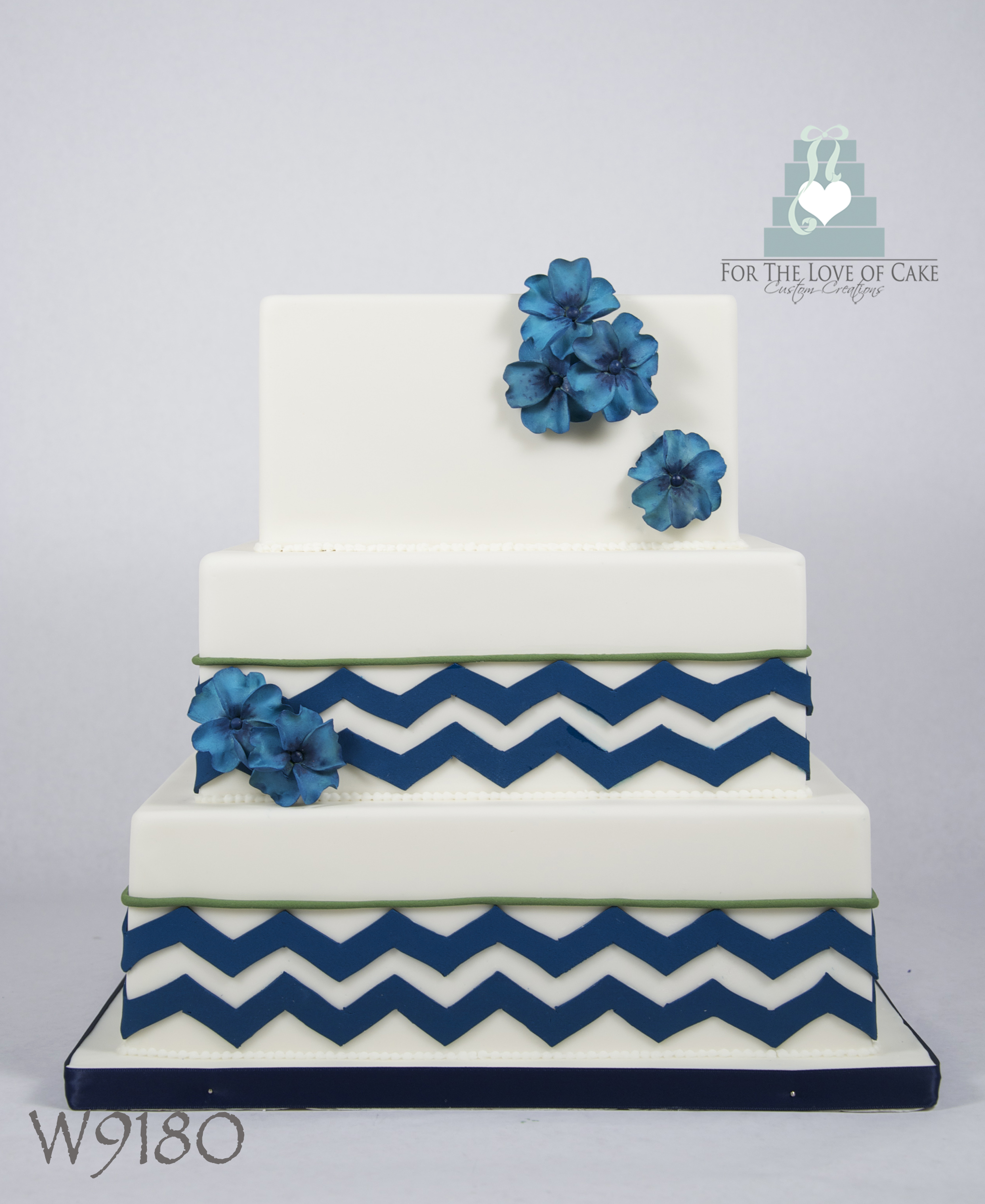 W9180 white navy blue square chevron wedding cake