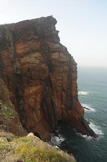 Seams in the red cliffs of Ponta de São Lourenço