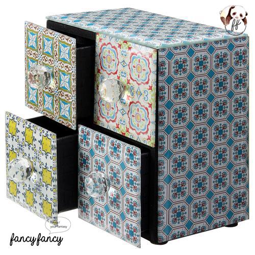 64.殖民風圖騰飾品收納盒-藍綠色2