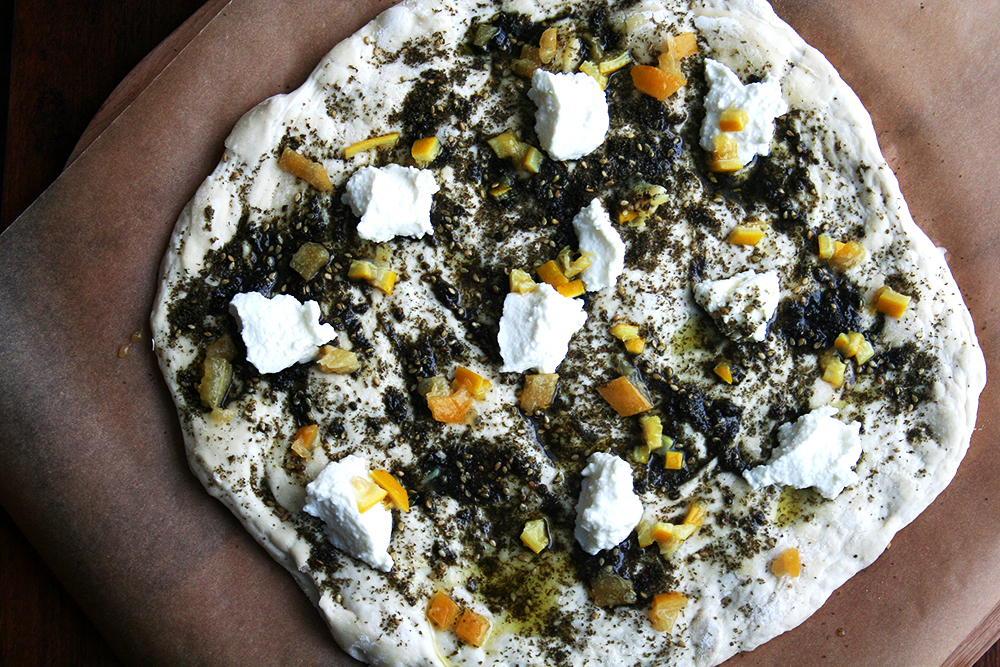 preserved lemon, za'atar & ricotta pizza