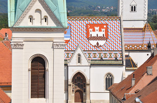 Church of St. Mark and Coat of arms of Zagreb on southern roof