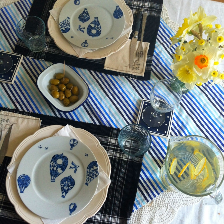 chambray and curls springtime table setting blue yelloow white fresh pretty