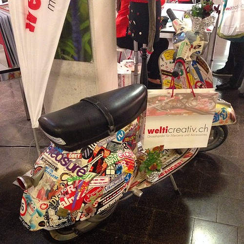 Do you want a ride in a paper collage Vespa? #swissexpo2014