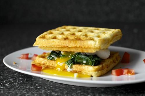 cheddar cornbread waffle sandwich with creamed greens