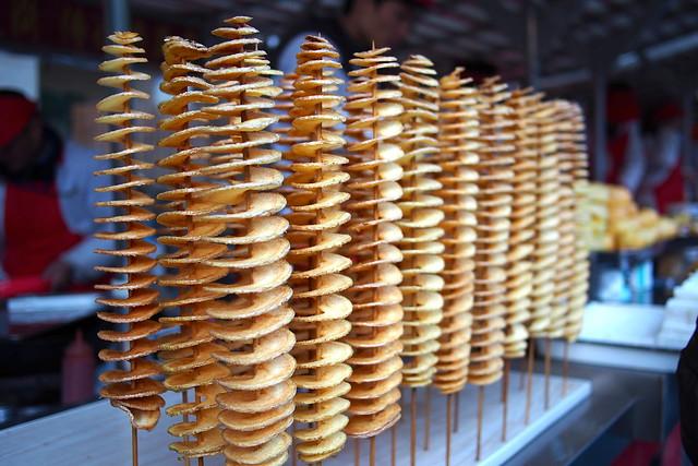 potato spirals, 东华门夜市 (Dong Hua Men Night Market), Beijing, China