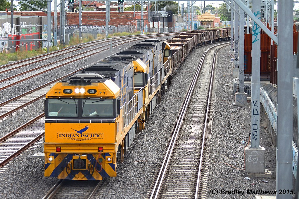 NR28 (IP)-NR97-NR76 with 2XM2 up Steel goods, ex Port Augusta at Footscray (27/1/2015) by Bradley Matthews