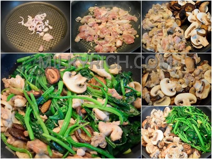 Xào thịt gà nấm cải - 5