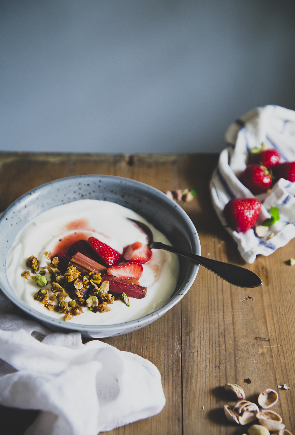 Vanilla Poached Rhubarb with Yoghurt & Pistachio Crumble | Cashew Kitchen