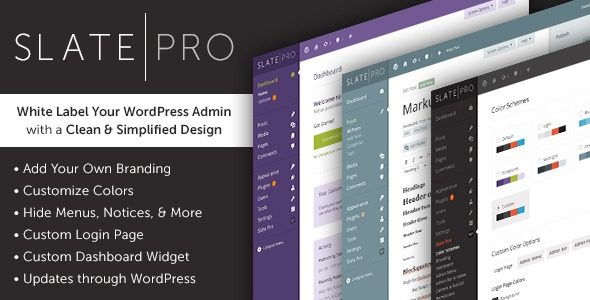 Slate Pro v1.1.3 – A White Label WordPress Admin Theme