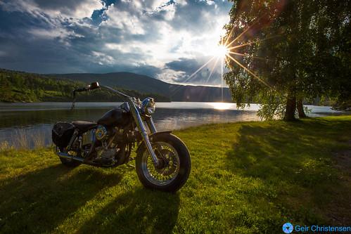 sunset shadow sun lake tree sol grass bike norway clouds outdoor harley mc cycle motorcycle veteran davidson gress 1951 motorsykkel eidsfoss
