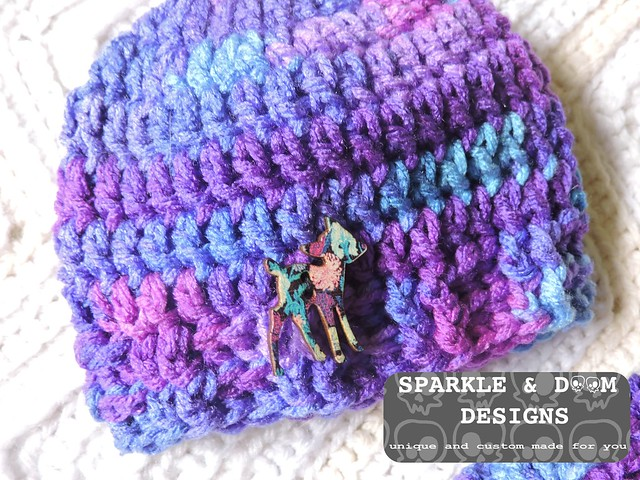 Anita Toque Purples Baby deerbutton