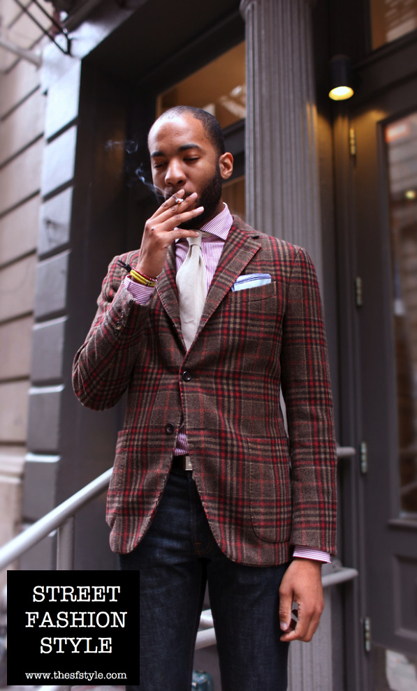 man morsel monday, new york fashion blog, street fashion style, TheSFStyle, sfstyle, plaid jacket,