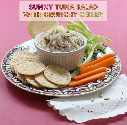 tuna salad with sunflowers, tarragon, celery