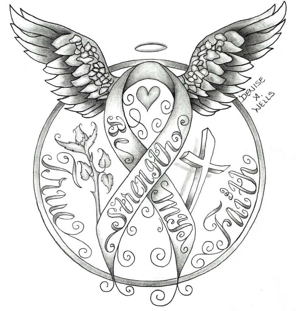 Strength Awareness Ribbon Tattoo Design By Denise A Wells