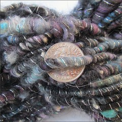 Black Peacock handspun, close up