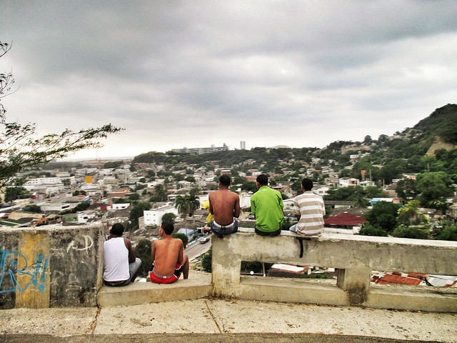 Boys surveying Cartagena