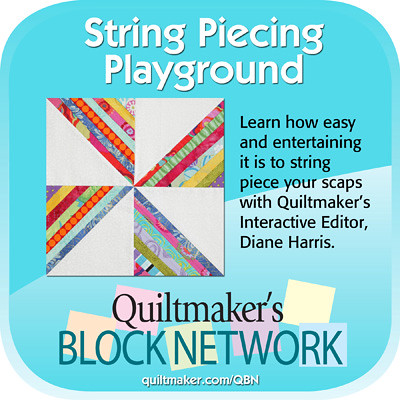 quiltmaker's block network. (pinwheel o'strings by rachel griffith)
