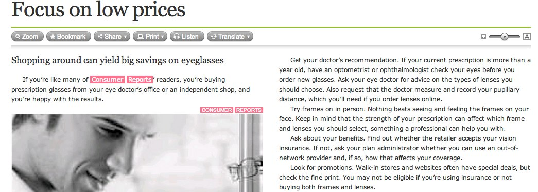 Eyeglasses: Focus on Low Prices: Boston Globe