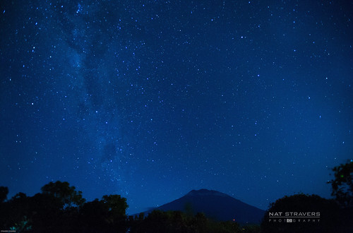 Milky way above Agung Mountain - Bali by Nathalie Stravers