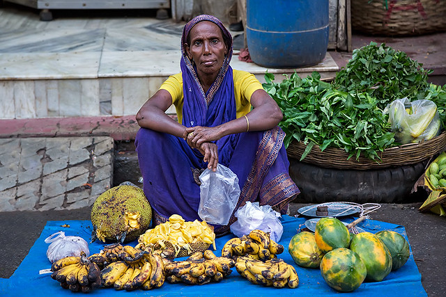 A market woman in Guwahati, India.