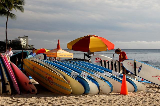 Surf boards for hire Waikiki.