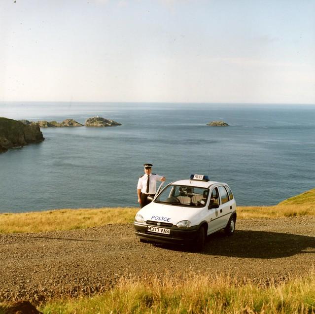 Northern Constabulary - Unst beat vehicle 1995 opposite Muckle Flugga (Shetland) Scotland