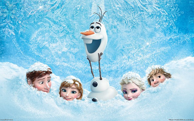 Hans, Anna, Olaf, Elsa, and Kristoff are neck deep in snow for a poster for Disney's Frozen