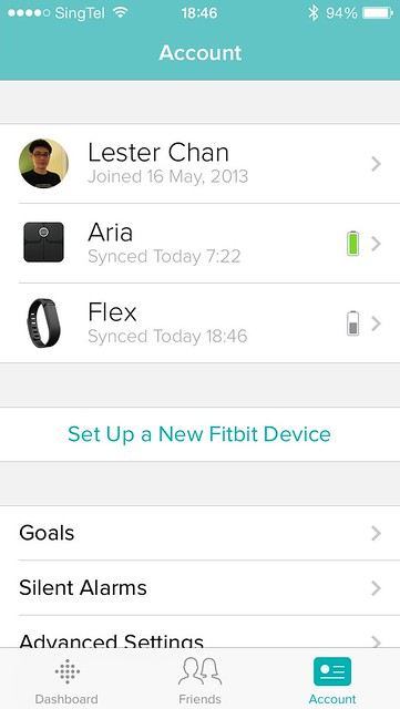 Fitbit Flex iOS App - Account