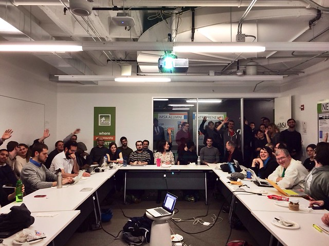 Opengovhacknight.org says hi #cfabrigade (Raised hands are first timers)