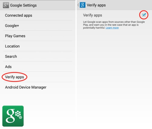 Google Verify Apps Setup