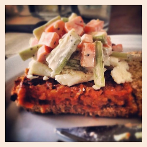 Buffalo tempeh burger with Gorgonzola, a quick celery and carrot slaw, all on homemade whole grain bread. #painisgood