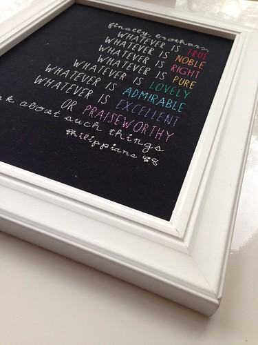 Philippians 4;8 hand embroidered -framed available in the shop soon