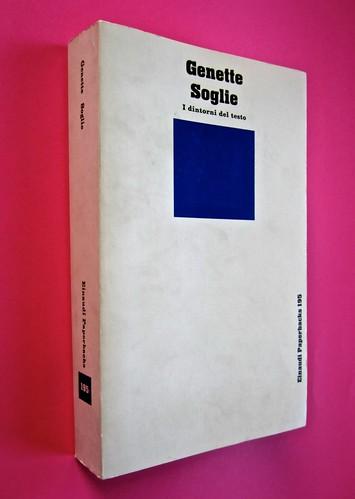 Soglie, di Gérard Genette. Einaudi 1989. Responsabilità grafica non indicata [Munari]. Dorso, copertina (part.), 1