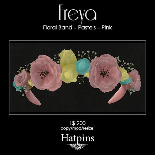 Hatpins - Freya Floral Band - Pastels - Pink