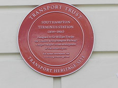 Photo of Southampton Terminus Railway Station and William Tite red plaque