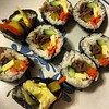 steven's first #kimbap thanks @maangchi!