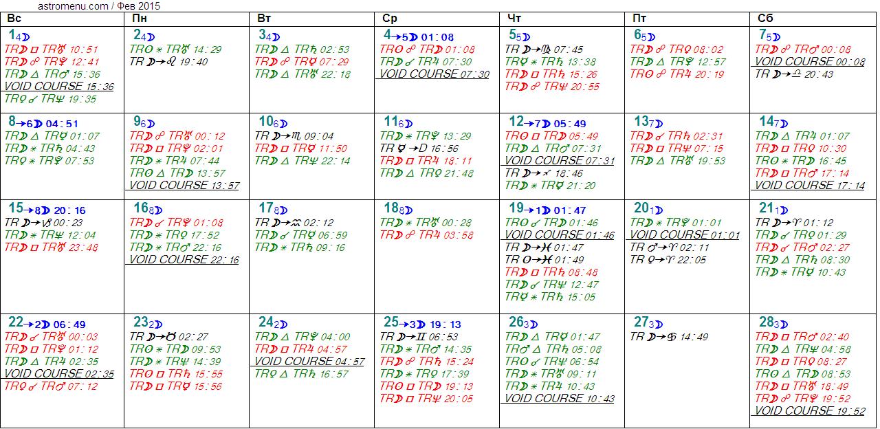 Астрологический календарь на ФЕВРАЛЬ 2015. Аспекты планет, ингрессии в знаки, фазы Луны и Луна без курса
