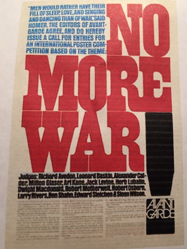 This add I used for an old homework assignment displays dominance by bringing out the words NO MORE WAR