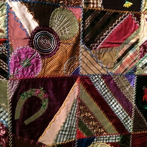 close up of Crazy Quilt, maker unknown, c. 1884