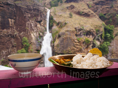 nepal food cliff nature water trekking trek restaurant waterfall asia rice balcony nobody nopeople falling meal cascade teahouse annapurna himalayas daal acap manang chamje indiansubcontinent dalbhat annapurnacircuittrek dalbhaat annapurnaconservationarea annapurnaround
