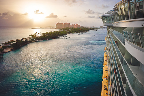 morning cruise blue sky color water lines sunrise island cool aqua warm paradise ship teal magic royal line atlantis oasis caribbean bahamas nassau seas