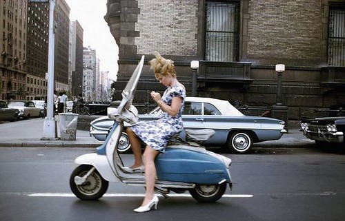 Women on moped, Central Park West and 72nd Street, 1965, by Joel Meyerowitz