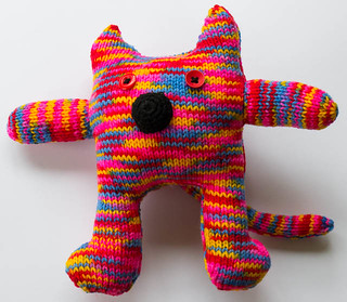 Multi-colour Knitted Cat 2
